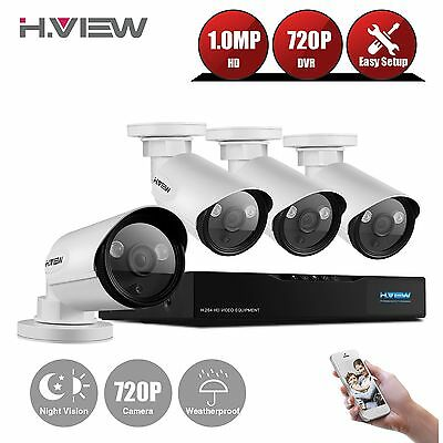 H.View 720P HD POE 4x Camera Home Security System Kit 4CH HDMI CCTV NVR Outdoor