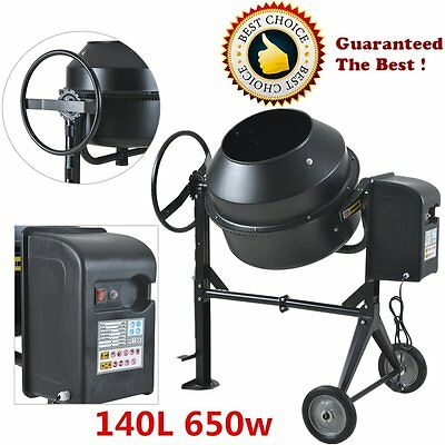 140L Electric Concrete Cement Mixer Mortar Plaster Wheels Stand HOT NEW 650w UK