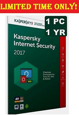 Kaspersky Internet Security Latest Version 2017 - 1 PC - 1 Year - Antivirus
