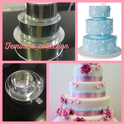 Set Of Proffessional 3 Tier Round Cake Baking Tins Heavy Duty 3 Wedding Pans