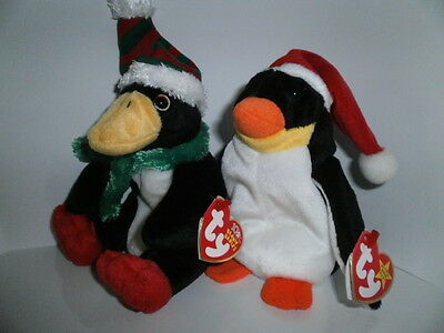 TY Beanie Babies - Zero and Toboggan, the Christmas Penguins with hang tags
