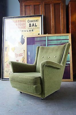 Mid Century Retro Green Easy Chair Velvet Type Fabric COURIER No. GIVEN
