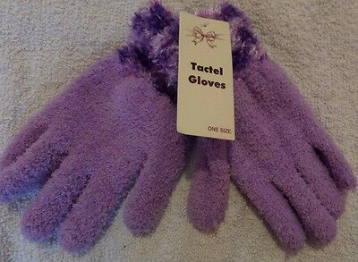 Pair Of Fluffy Purple Glove' One Size