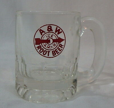 "VTG A&W Root Beer Child Size Mug 3"" Open Red Ice Cold Circle Logo Arrow Child's"
