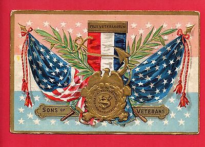 Sons Of Veterans Decoration Day Series No. 2  Eagle Flags Ribbon Postcard