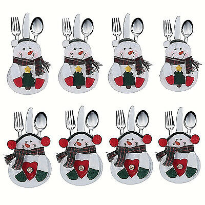 8Pcs Snowman Christmas Decorations Suit Cutlery Holders Place Setting Gift