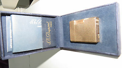 1970´s DUPONT Gold Plated Diamond Point Lighter with original box