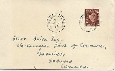 1st INVERNESS MOBILE POST OFFICE 1938 CANCEL ON KGVI COVER TO CANADA REF 464