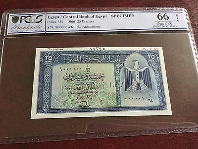 Egypt Banknotes Specimen 10 pounds 1955 signed Zaki Saad choice UNC