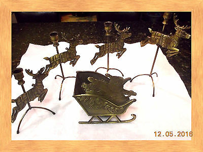 Christmas Cast Iron Sleigh with (4) Reindeer with Candle Holders on Top