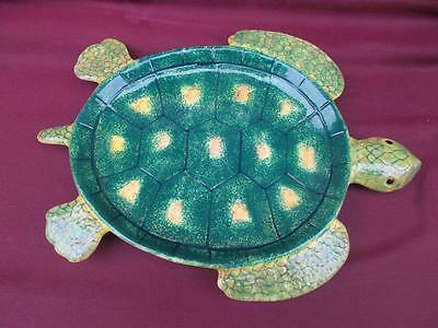 A Very Colorful Mid Century Ceramic Micro Wave Safe Turtle Platter W Hang Holes