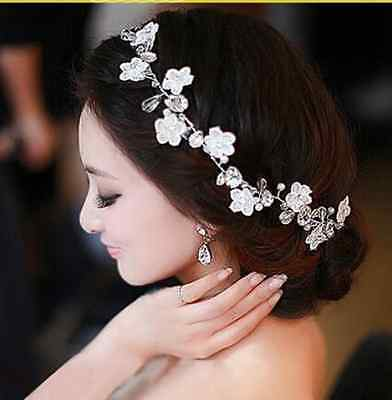 Crystal Diamond Bride Bridal Wedding Hair Head Band Wear Pearl Rhinestone Tiara