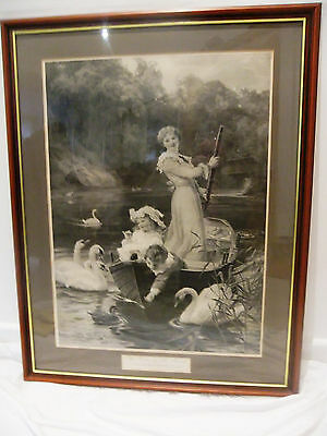 Vintage Large Framed Print-The Home Of The Swans