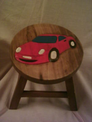 Child's Wooden Carved 'Car'  Stool