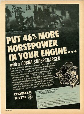 "vintage Shelby American ""Cobra Superchargers"" ad, Hot Rod June 1967"