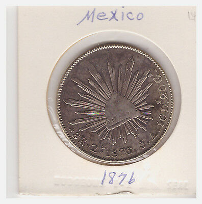 1876 Mexico Eight Reales 8R Silver Coin