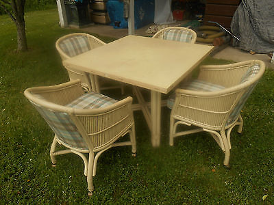 Vintage Mid-Century 5 Piece FICKS REED Rattan Dining Set Palm Beach Regency EXCL