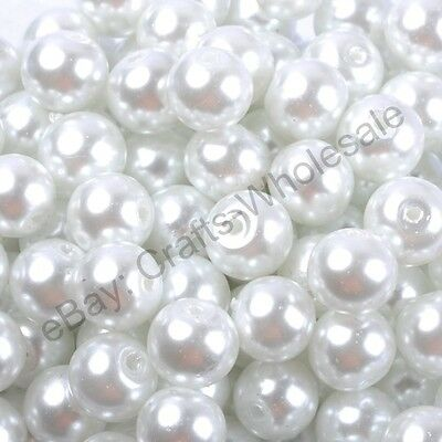 100& White Quality Czech GLASS PEARL Round & Loose BEADS  4MM