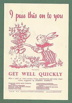Early 1950's Illustrated Women's Gas Federation Recipe Leaflet Get Well Recipes