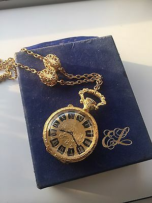 1974 Estee Lauder Solid Perfume 'Pocket Watch' Pendent Necklace Boxed