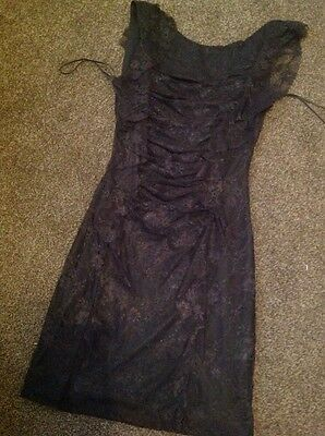 Gorgeous Fully Lined Black Lacey Bodycon Dress By Rare Size 8
