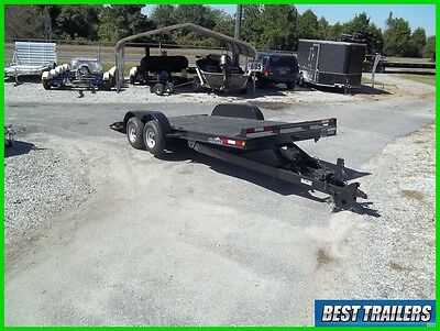 2017 hawke 18 ft carhauler steel deck trailer power tilt 7 x 18 equipment traile