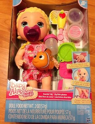 Blonde Baby Alive Snackin Lily W/ Pacifier , Toy Nemo And Sippy Cup! Super Snack