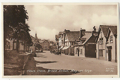 HAY ON WYE, TOWN CLOCK, BROAD STREET ~ A VINTAGE FRITH'S POSTCARD (d4)