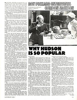 Gordon Jackson : Why Hudson Is So Popular (Upstairs Downstairs) Article & Pictur