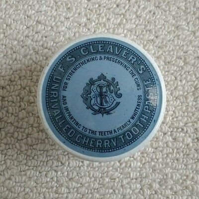 Stunning blue background F S CLEAVER'S TOOTH PASTE pot lid and base