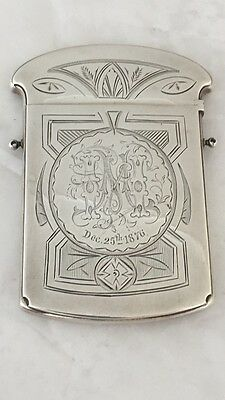 Antique Gorham Hand Chased Engraved Sterling Large Calling Card Case Dec 25 1876