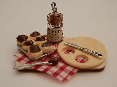 Dolls house food: Making Christmas mince pies prep board  -By Fran