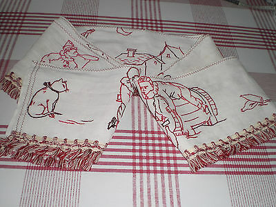 French Vintage Redwork Embroidered Cotton Valence/Pelmet Trim Shabby Chic Cutter