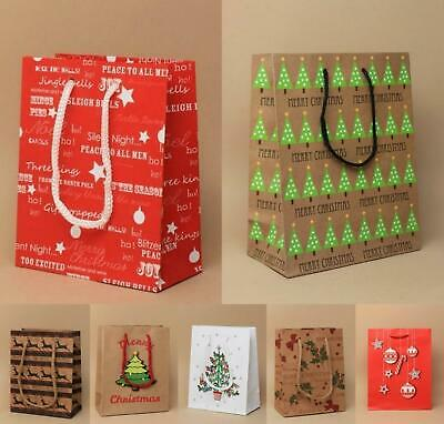 Pack Of 6 Small Christmas Xmas Brown Red Gift Bags