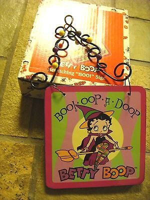 Halloween NEW Betty Boop Bewitching BOO Sign / Plaque WOOD AND METAL
