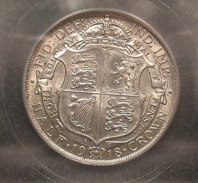 1918 Great Britain Silver 1/2 Crown King George Icg Au55 Nice Coin