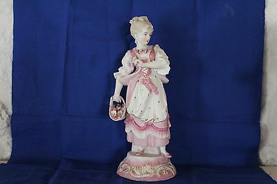 Lady In Pink Bisque Figurine