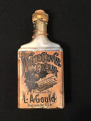 """L.A. Gould White Clover Cream in a Old Medicine Apothecary Bottle 6"""" Full Label"""
