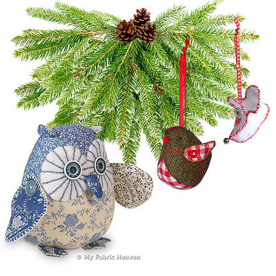 3 X Fabric Softy Sewing PATTERNS Twinkle Owl/Robin/Elf Boots Xmas Decorations