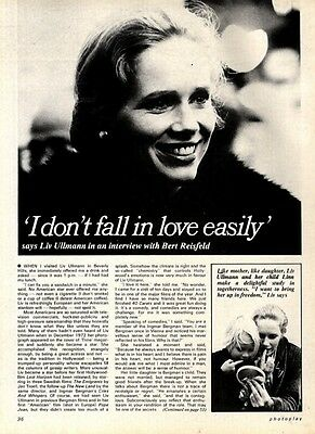 Liv Ullman : I Do,t Fall In Love Easily Article & Picture(S)