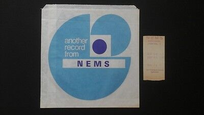 NEMS of Liverpool early 1960s record sale bag with shop till receipt. BEATLES !