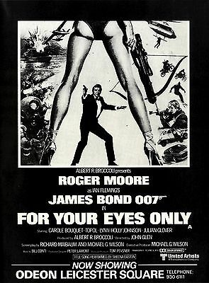 Movie Advert 11x8 James Bond 007 In For Your Eyes Only (Roger Moore & Carole Bou