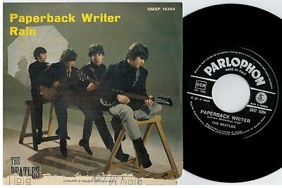 THE BEATLES Paperback writer Rain 45rpm 7' + PS 1966 ITALY EX+ Black label
