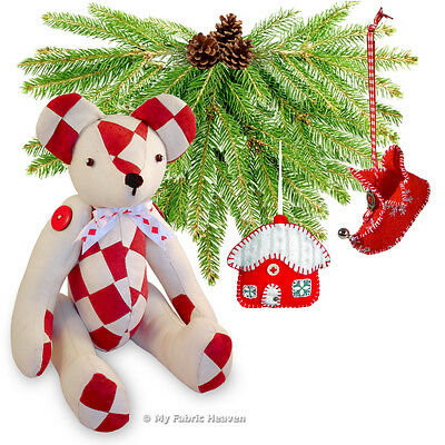 3 X Fabric Softy Sewing PATTERNS Patchwork Teddy/Cottage/Elf Boot Decorations
