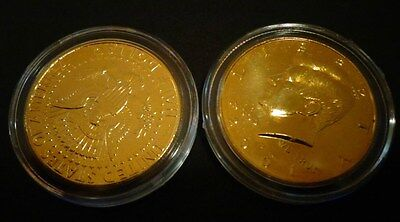 Lot Of 2 - 24 Kt  Gold Plated  Kennedy Half Dollar Coin Set- Airtight  Capsule