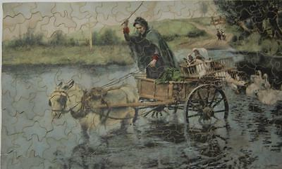 Early 1900's Wooden Jigsaw Puzzle - Woman crossing river in cart