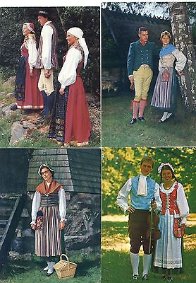 Swedish folklore 19 modern postcards showing Swedish local traditional costumes