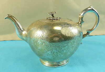 Early Victorian Sterling Silver Gilt Teapot Fine Chased Decoration Crest 1848