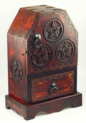 Pagan Or Wiccan Stocked Altar Cabinet With Candles, Cauldron, Spells, Etc