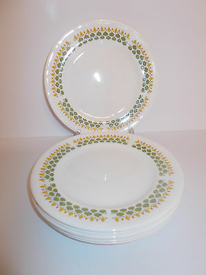 6 x Queen Anne Bone China Side Cake Tea Plates Green and Mustard Design Lovely